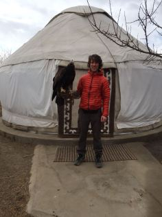 Holding a Golden Eagle in 'Eagle Village'